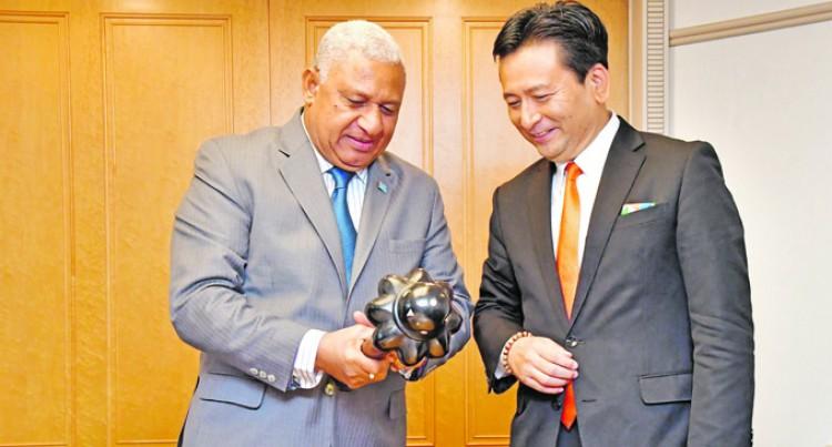 Pm Bainimarama, Governor Of Saga Prefecture Talk Rugby