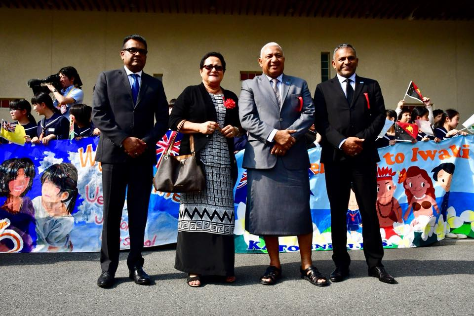 From left: Permanent Secretary for the Office of the Prime Minister and Sugar Industry Yogesh Karan, Mary Bainimarama with her husband Prime Minister Voreqe Bainimarama and Minister for Industry, Trade, Tourism, Lands and Mineral Resources Faiyaz Koya in Iwaki, Japan. Photo: DEPTFO News