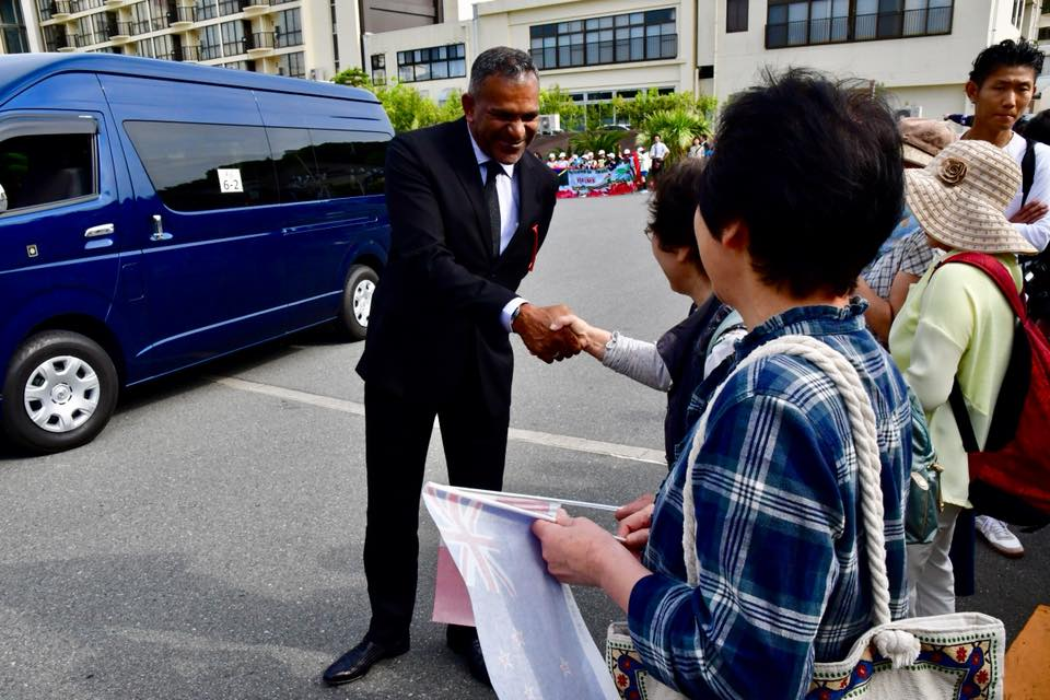 Minister for Industry, Trade, Tourism, Lands and Mineral Resources Faiyaz Koya greeted by well wishers before the PALM8 summit in Iwaki, Japan. Photos: DEPTFO News