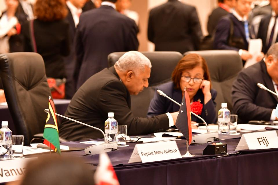 Prime Minister Voreqe Bainimarama and Marshall Islands President Hilda Heine during PALM8 in Fukushima, Japan ,on May 19, 2018. Photo: DEPTFO News