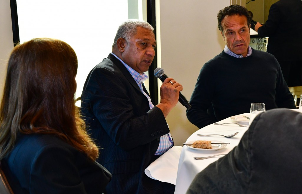 Prime Minister Voreqe Bainimarama addresses questions posed by the Victorial business community on May 26, 2018. DEPTFO