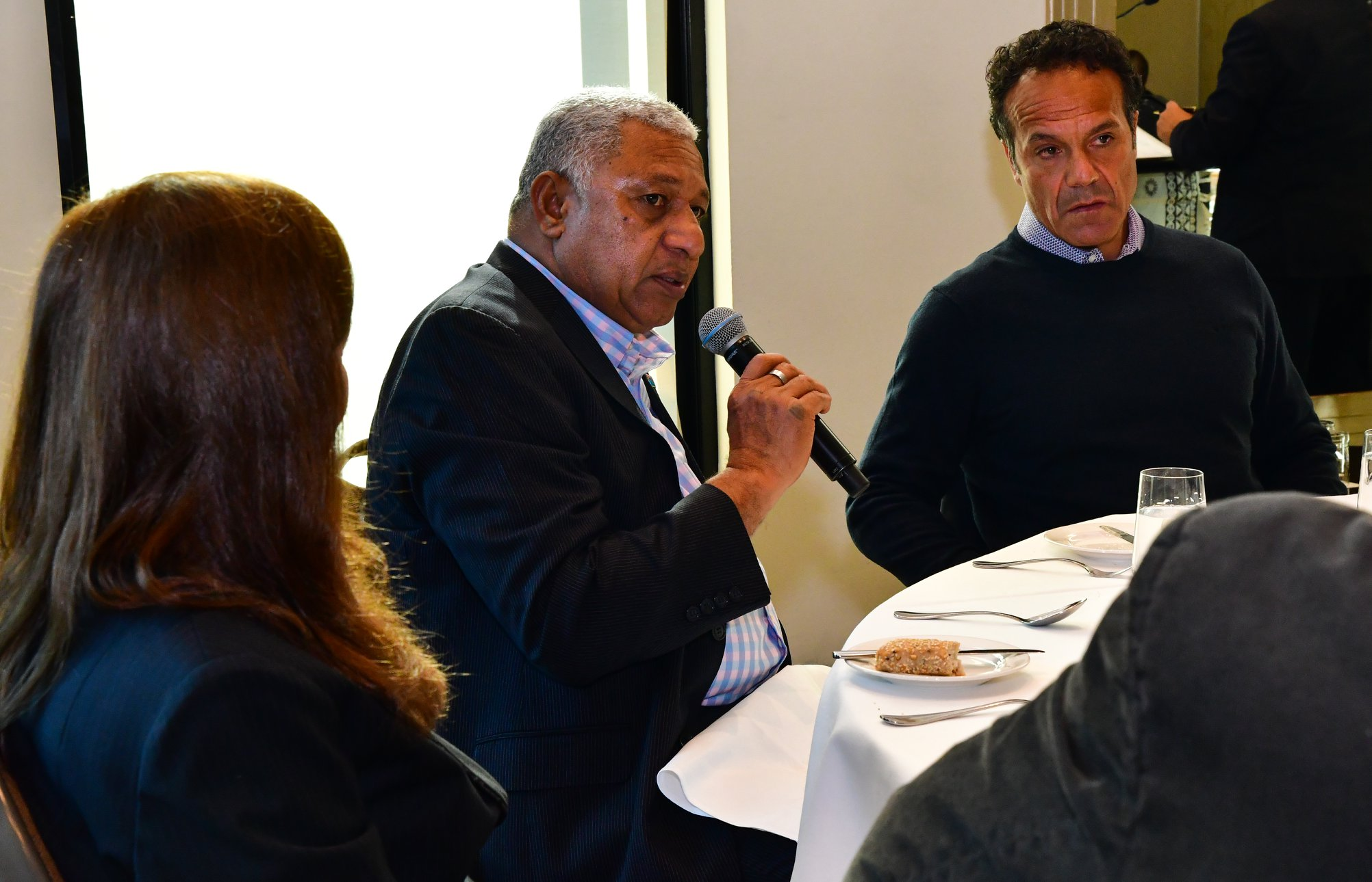Prime Minister Voreqe Bainimarama addresses questions posed by the Victorian business community on May 26, 2018. Photo: DEPTFO News .