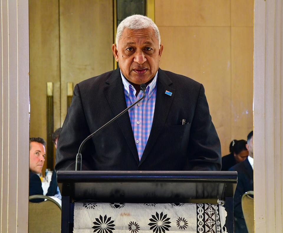 Prime Minister Voreqe Bainimarama giving his keynote address at the business luncheon in Melbourne, Australia on May 26, 2018. Photo: DEPTFO News