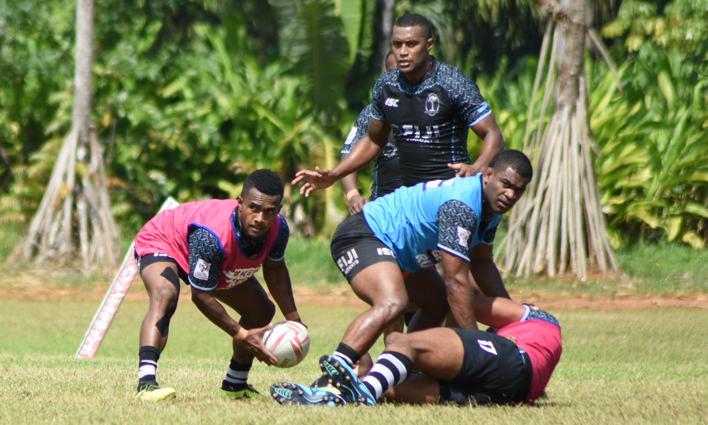 Fiji Airways Fijian 7s squad  during training at Uprising Resort ground on May 10, 2018. Photo: Ronald Kumar