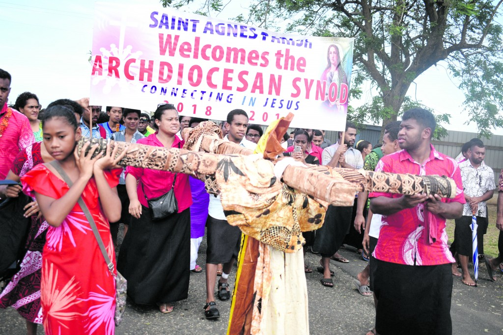 Members of the Catholic church marching to mark the Eucharistic Celebration Synod Launch on May 20,2018.Photo:Simione Haravanua.