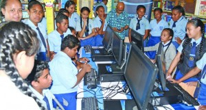 Holy Trinity Primary School students with the new computers donated by ANZ Bank on May 24, 2018. Photo: Ronald Kumar