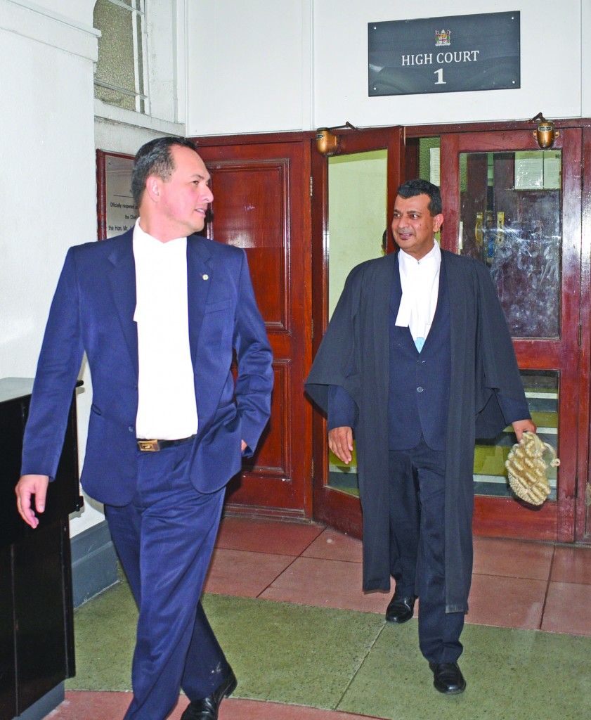Defence Lawyers in Fiji Times case Wylie Clarke followed by Devanesh Sharma outside High Court on May 15, 2018. Photo: Ronald Kumar.