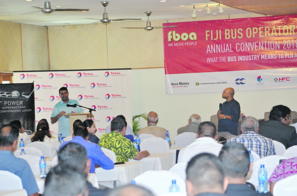Governor of Reserve Bank of Fiji Ariff Ali with Accident Compensation Commission Fiji chief executive officer Parvez Akbar addressing members of the Fiji Bus Operators Association during the association's annual convention at Novotel Suva Lami Bay Convention Centre on May 12, 2018