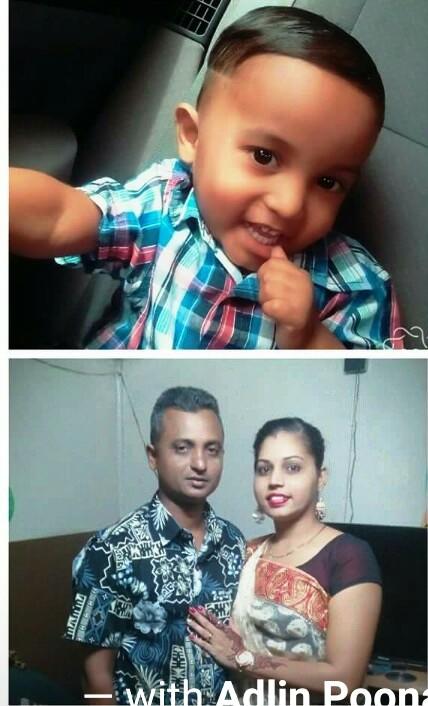 During happier times, the late Avinesh Ram, wife Poonam Kohli and son Abishai Ram (top)