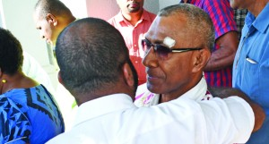 Nai Lalakai Editor Anare Ravula congratulated by The Fiji Times Online Editor Timoci Vula outside the High Court on May 22, 2018. Photo: Ronald Kumar