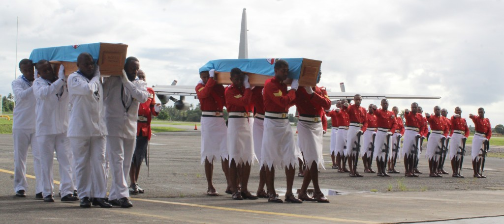 The Fiji Navy officers carrying the casket of the late Leading Aircraftman Ralph Scott and the Royal Fiji Military Force carrying the casket of the late Flight Lieutenant George Beban during the farewell at the Nausori Airport on May 7,2018.Photo:Simione Haravanua.