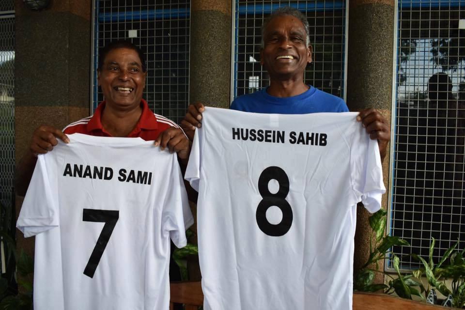 Fiji football legends Anand Sami (left) and Hussein Sahib. Photo: Fiji Football