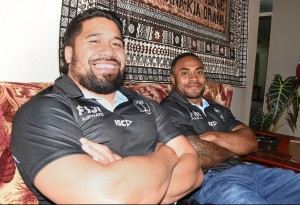 Fiji Airways Flying Fijians squad members from left; Campese Maa'fu and Benito Masilevuin Suva on May 29, 2018. Photo: Ronald Kumar
