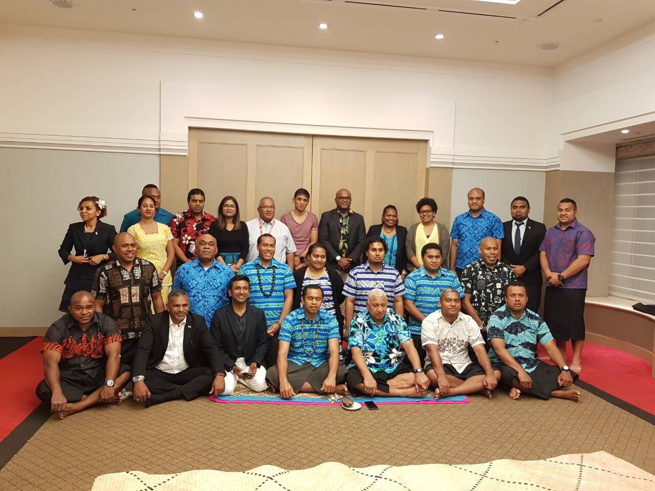 Prime Minister Voreqe Bainimarama with members of the Fijian delegation and Fijian residents in Tokyo, Japan, on May 19, 2018. Photos: DEPTFO News