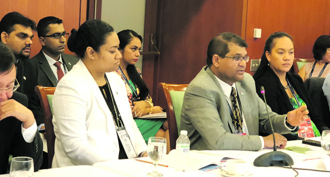 Governor of the Reserve Bank of Fiji Ariff Ali (second from right), and the Permanent Secretary of the Ministry of Economy, Makereta Konrote (left), at a meeting in Manila, the Philippines capital, during the 51st Asian Development Bank annual Governors meeting.
