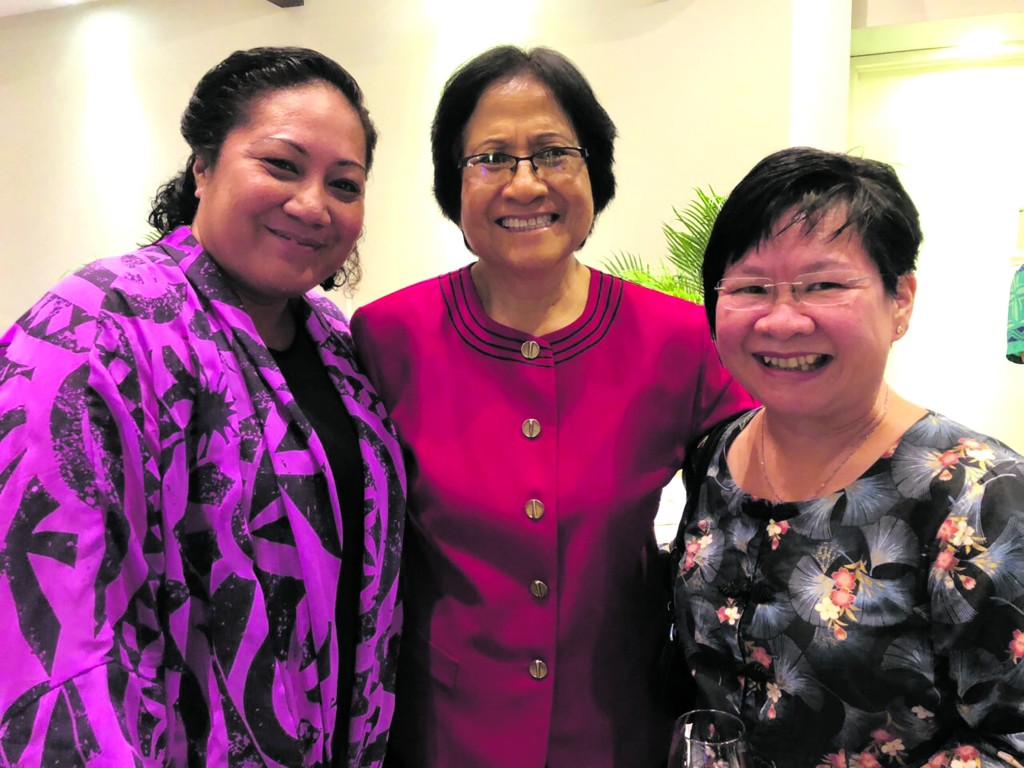 From the left: Michelle Tevita-Singh, First Lady Sarote Konrote and Beverly Seeto at the Fiji Institute of Accountants 2018 Congress at the Shangri-La's Fijian Resort and Spa in Yanuca Island on May 17, 2018 .Photo: Lorraine Seeto