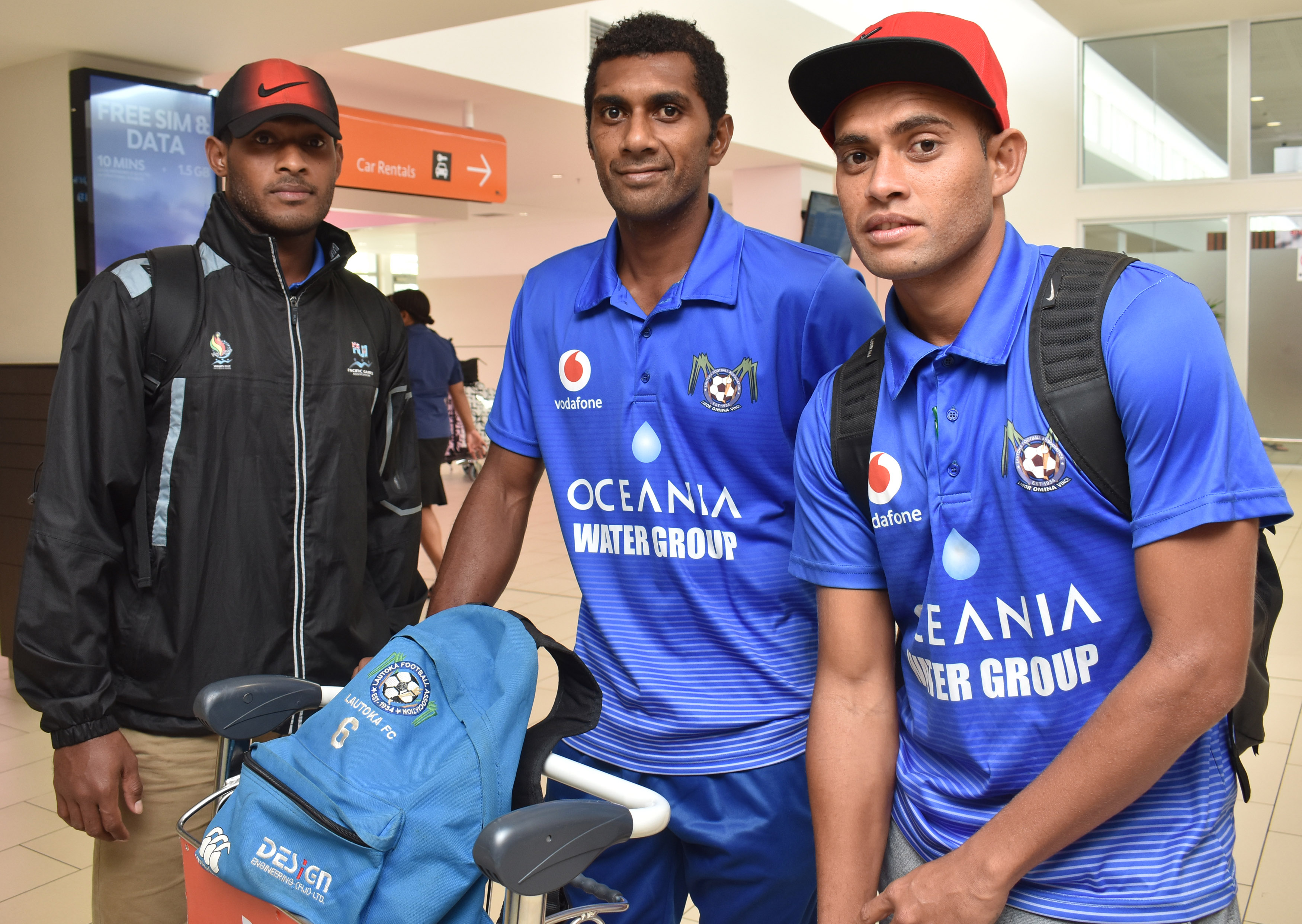 Vodafone Lautoka football reps  Kolinio Sivoki, Jone Vesikula and Poasa Bainivalu at the Nadi International Airport on May 14, 2018. Photo:  Waisea Nasokia