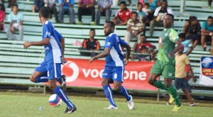 Lautoka football striker Benjamin Totori (second from left) in action during the Vodafone Fiji FACT on May 26, 2018. Photo: Ronald Kumar