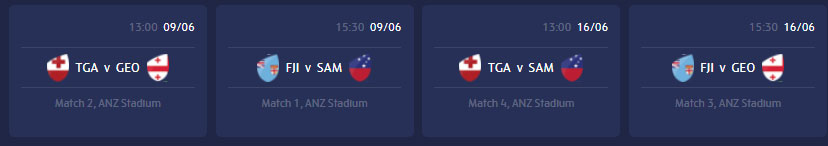 World Rugby Pacific Nations Cup 2018 fixtures.