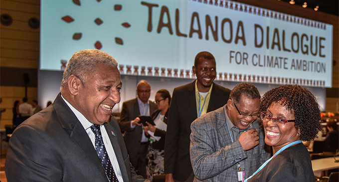 Prime Minister Voreqe Bainimarama with participants during the Presidencies Talanoa Dialogue in Bonn, Germany. Photo: DEPTFO News