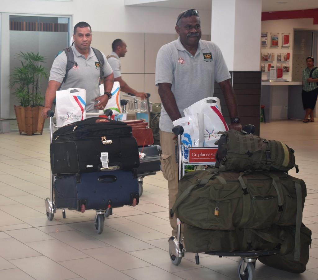 Republic of the Fiji Military Forces personnel arrive at Nadi International Airport on 9 April 2018 . PHOTO: ARIETA VAKASUKAWAQA