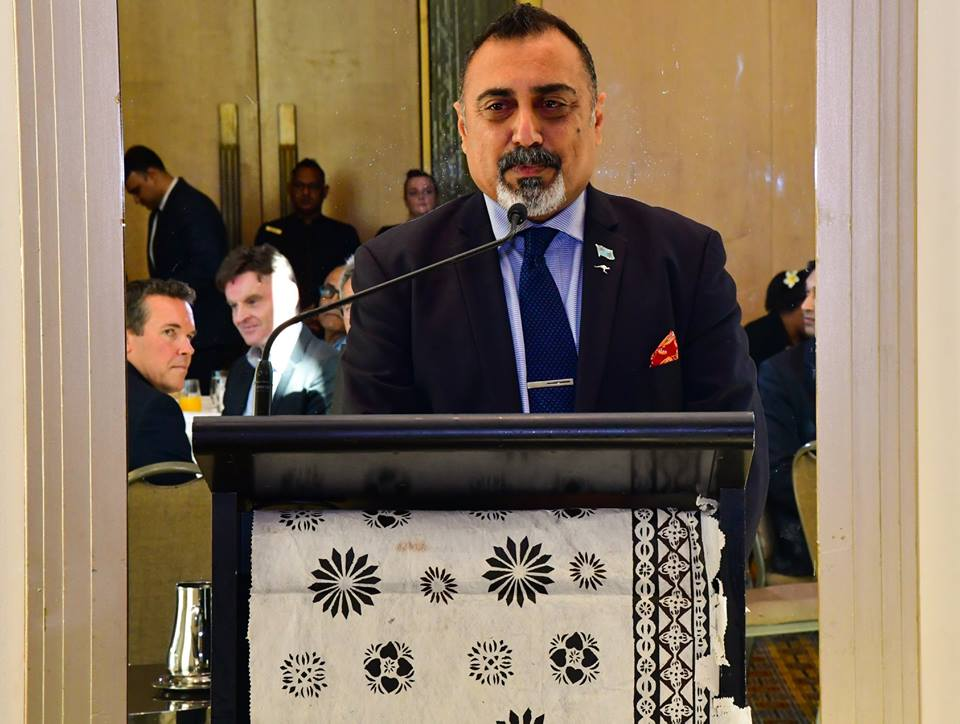 Fiji's High Commissioner to Australia Yogesh Punja speaking at the business luncheon on May 26, 2018. Photo: DEPTFO News