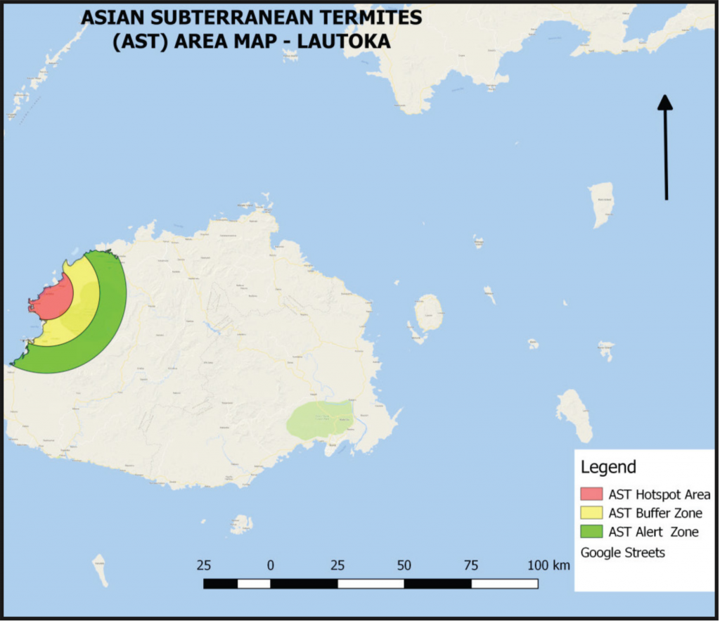 Hot spots where the Asian Subterranean Termites may dwell on Viti Levu.