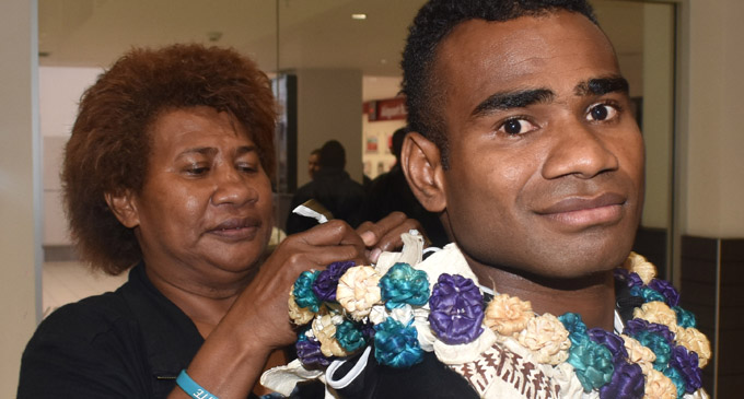 Fiji Airways Fijian 7s captain Seremaia Tuwai is welcomed by his mother Seruwaia Vualiku at the Nadi International Airport on May 2,2018. Photo: Waisea Nasokia