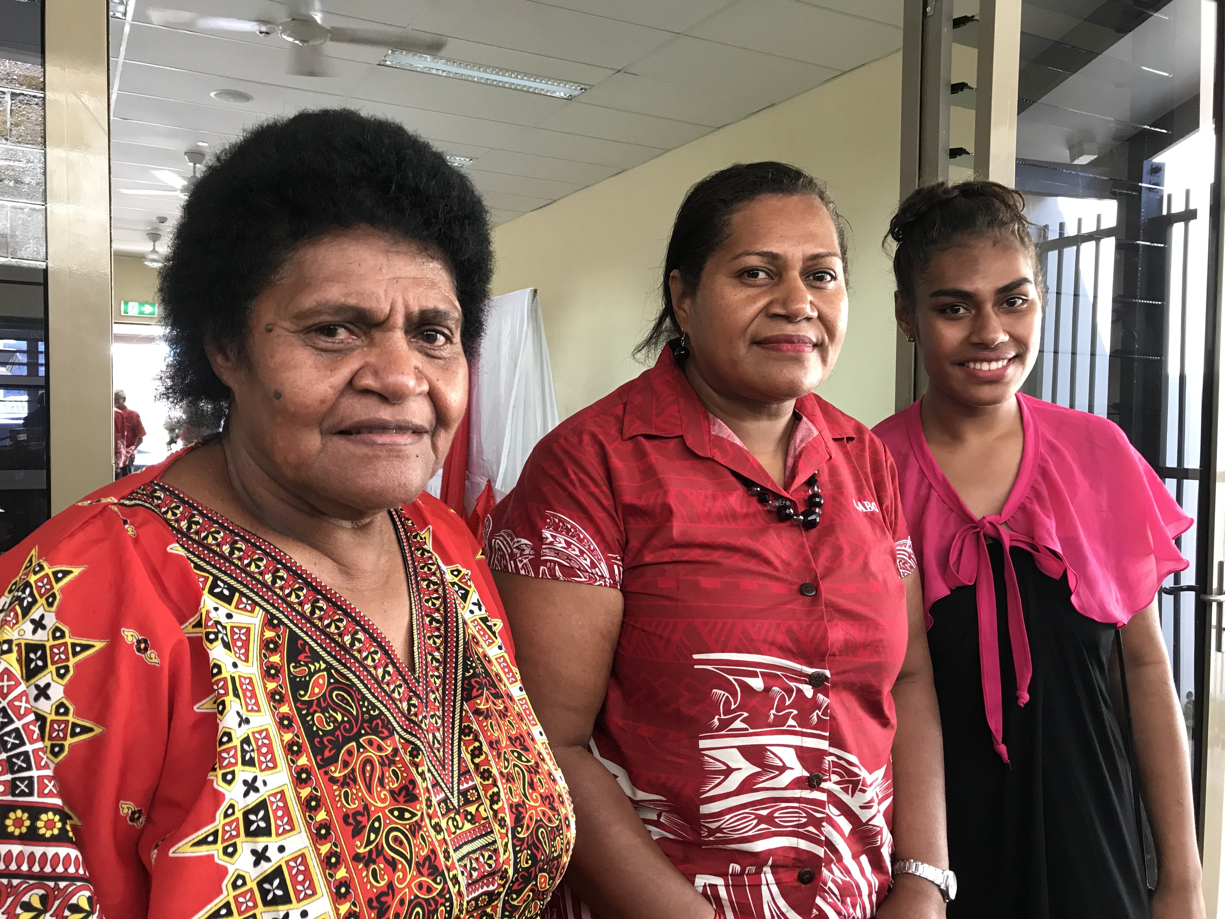 From left, Torika Liku Tobakeisuva (mother), Fiji Labour Party provisional candidate Taina Rokotabua and Litia Lynell Lewairavu (daughter). Photo: Rosi Doviverata