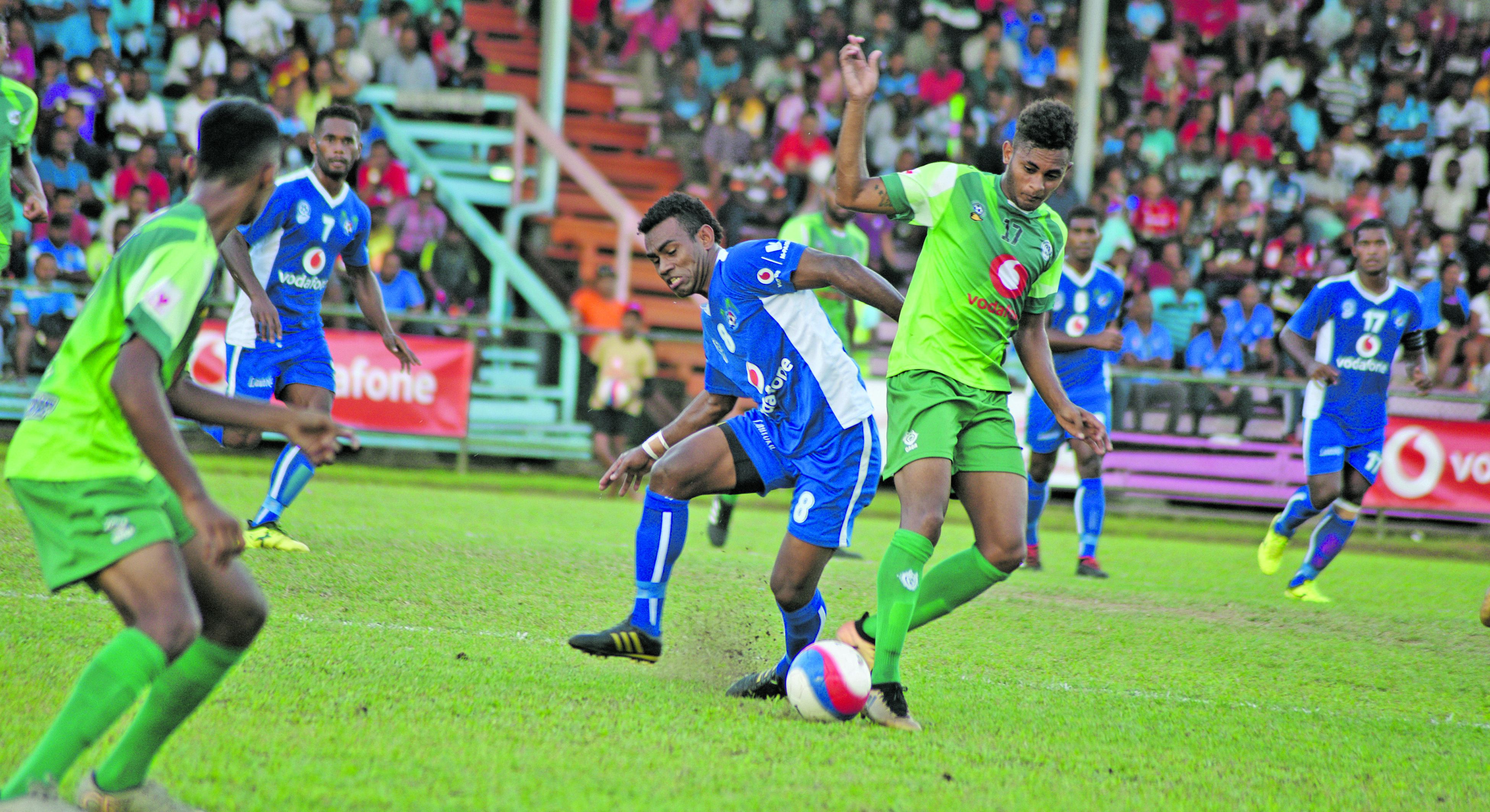 Kavaia Rawaqa of Lautoka and Parick Joseph of Lautoka (right) battle for possession during the Vodafone Fiji FACT tournament on May 26, 2018. Photo: Ronald Kumar.