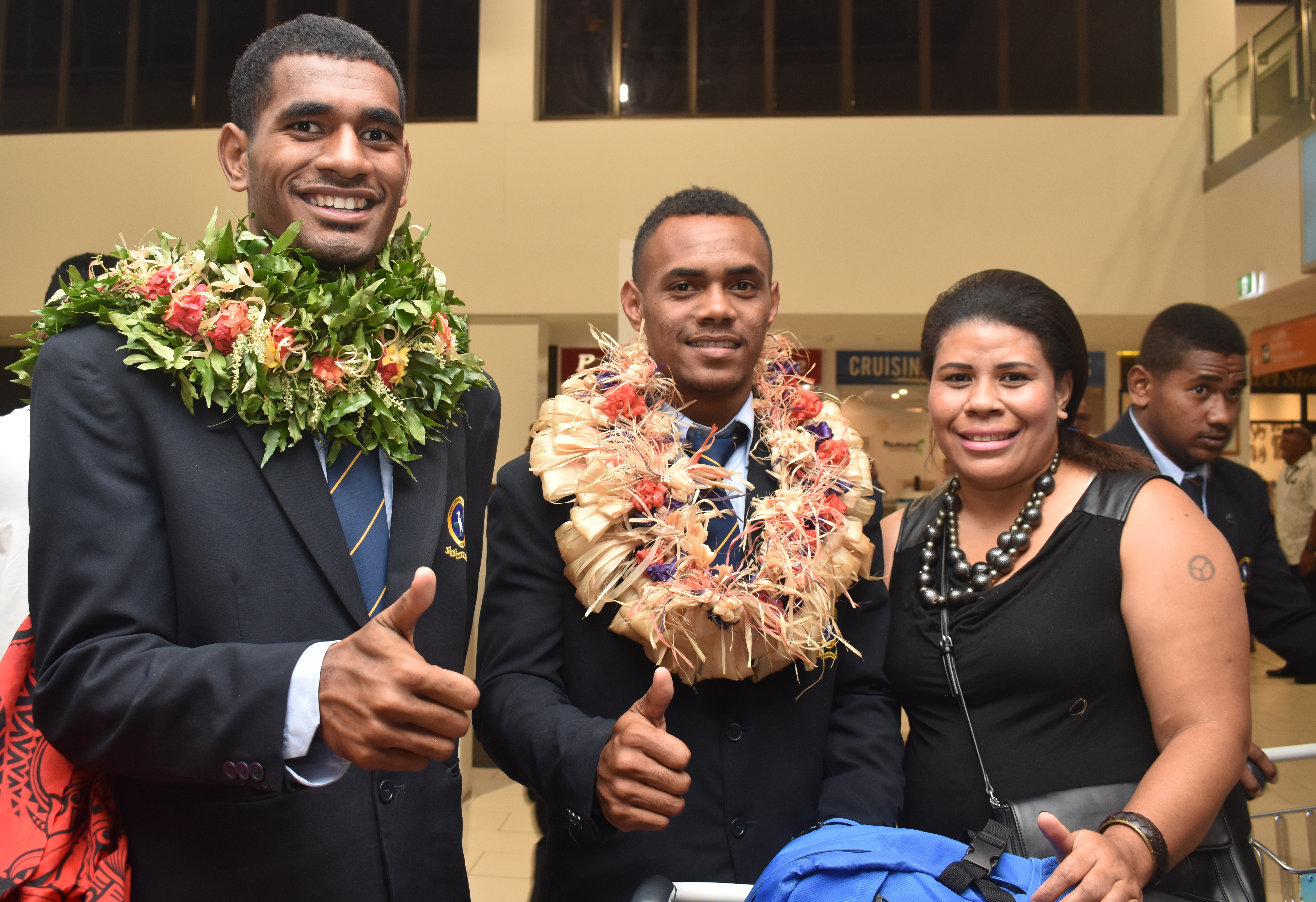 Members of the RKS U18 team with a family member wat the Nadi International Airport on May 7, 2018. Photo: Waisea Nasokia