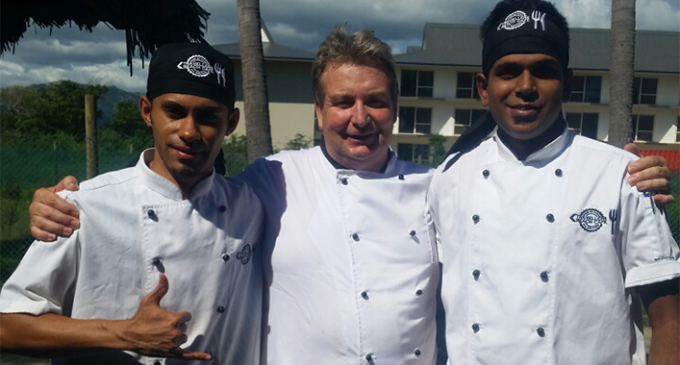 IN HAPPIER DAYS... The late Manuha'apai Sauaki Besetimoala (left) with NZ chef David Spice and head chef Ravi Narayan. Photo: Ravi Narayan
