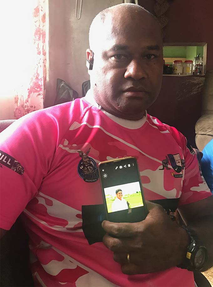 Isei Vuli shows a photo of his late nephew Mosese Mamafainoa Buka at Kinoya, Suva on June 18, 2018.   Photo: Selita Bolanavanua