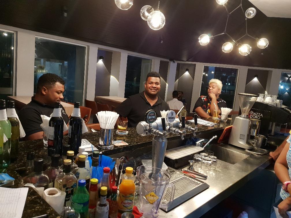 Customers at the newly-renovated executive style:Baka Lounge Bar.