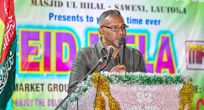 The Minister for Industry,Trade and Tourism, Lands and Mineral Resources Faiyaz Koya the Eid celebrations at Saweni, Lautoka on June 23, 2018.