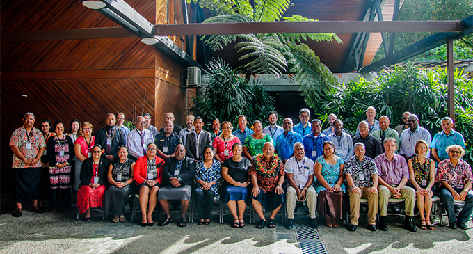 Minister for Defence and National Security, Ratu Inoke Kubuabola (sitting, wearing garland) with forum members of the Biketawa Plus Security Declaration Workshop on June 18, 2018. Photo: Minister for Defence and National Security