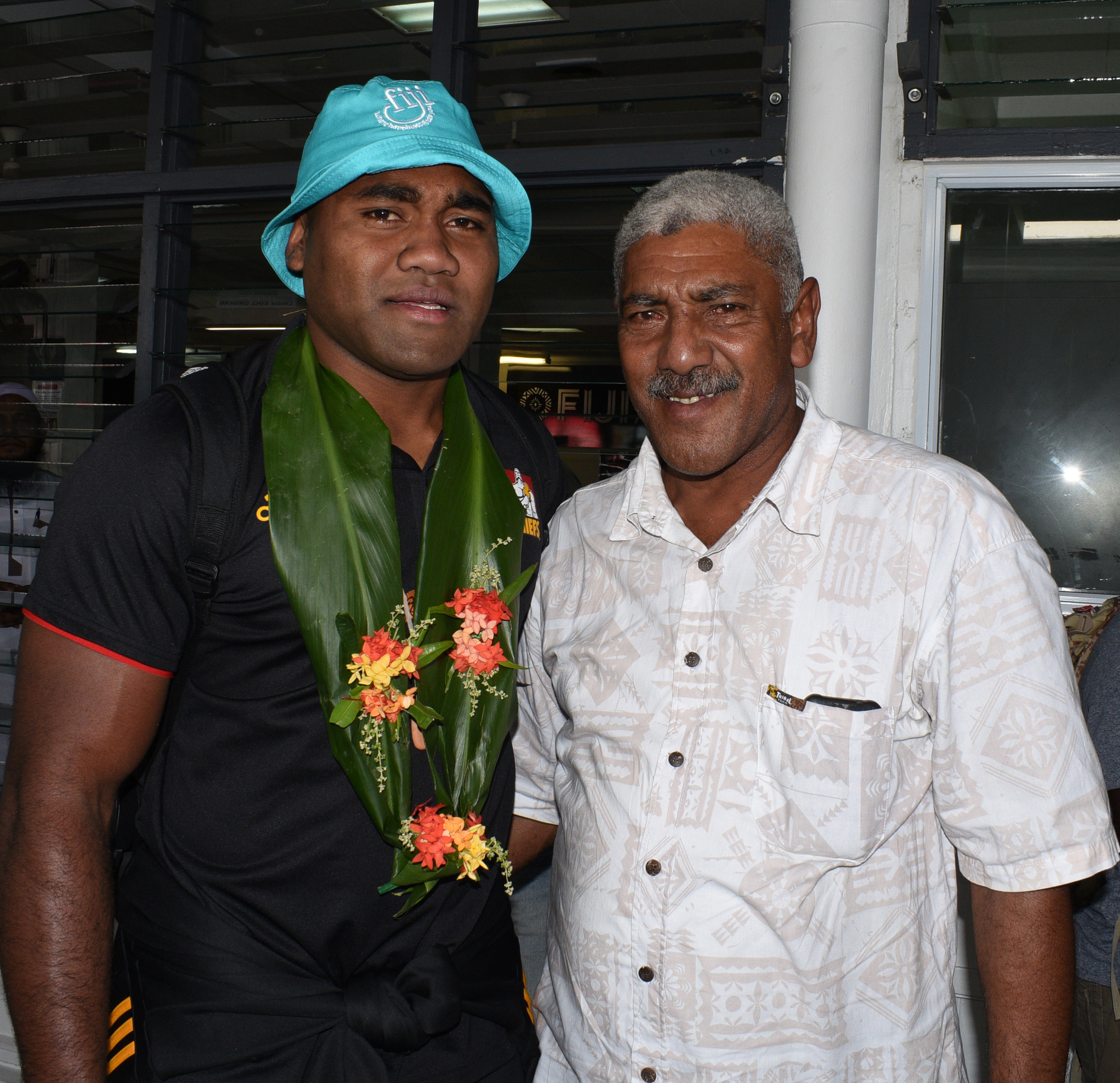Fijian born Chiefs flanker Pita Sowakula with with his uncle Ropate Robanakadavu at Nausori International Airport on June 27, 2018.  Photo: Ronald Kumar.