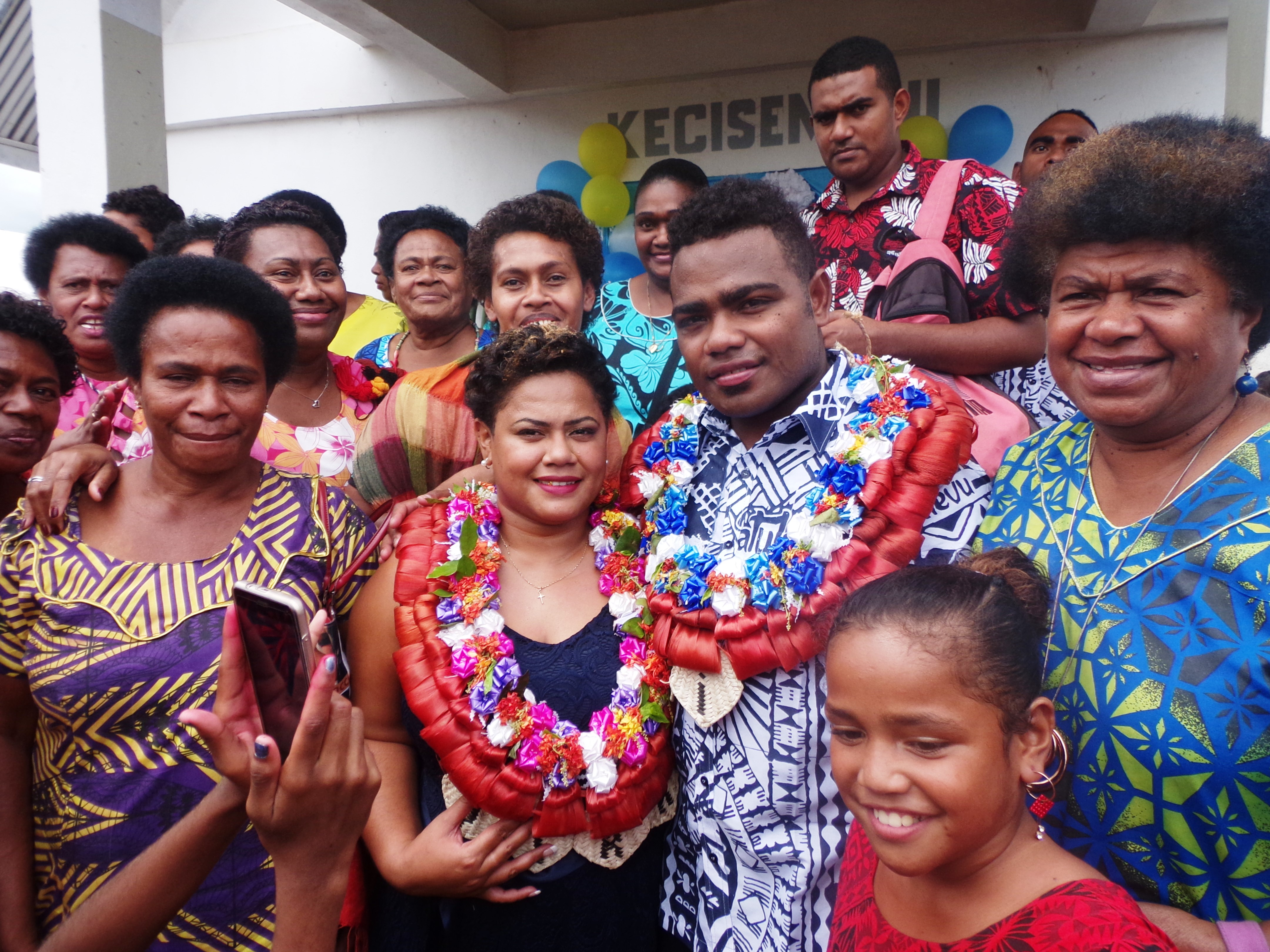 Filipo Nakosi with wife Vika and their relatives in Votua Village in Ba on June 29, 2018. Photo: Peni Komaisavai