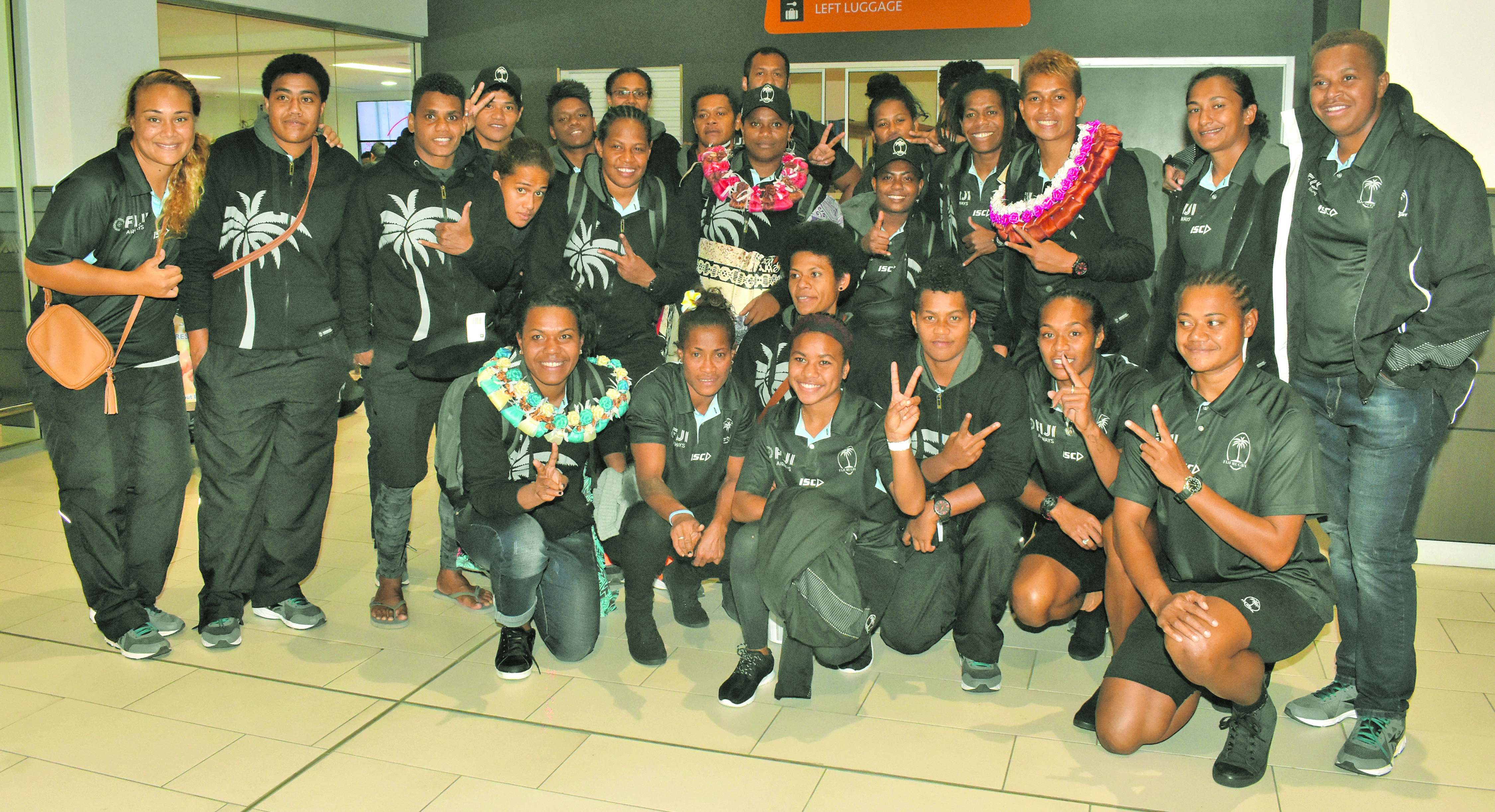 Fiji Airways Fijiana XVs players and officials at Nadi International Airport on June 17, 2018. The Ro Alifereti Doviverata- coached side returned home unbeaten from their tour. Photo: Waisea Nasokia