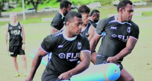 Fiji Airways Flying Fijians fullack Kini Murimurivalu, Leone Nakarawa, Ben Volavola during training at Albert Park, Suva on June 18, 2018. Photo: Simione Haravanua