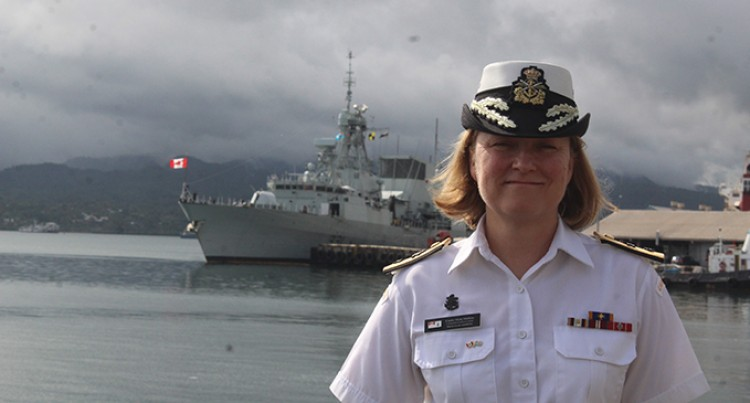 Women In Fiji Navy Please Visiting Canadian Commodore Mulkins