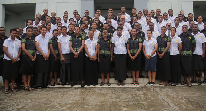 Navy sailors after the church service on Sunday June 03, 2018.