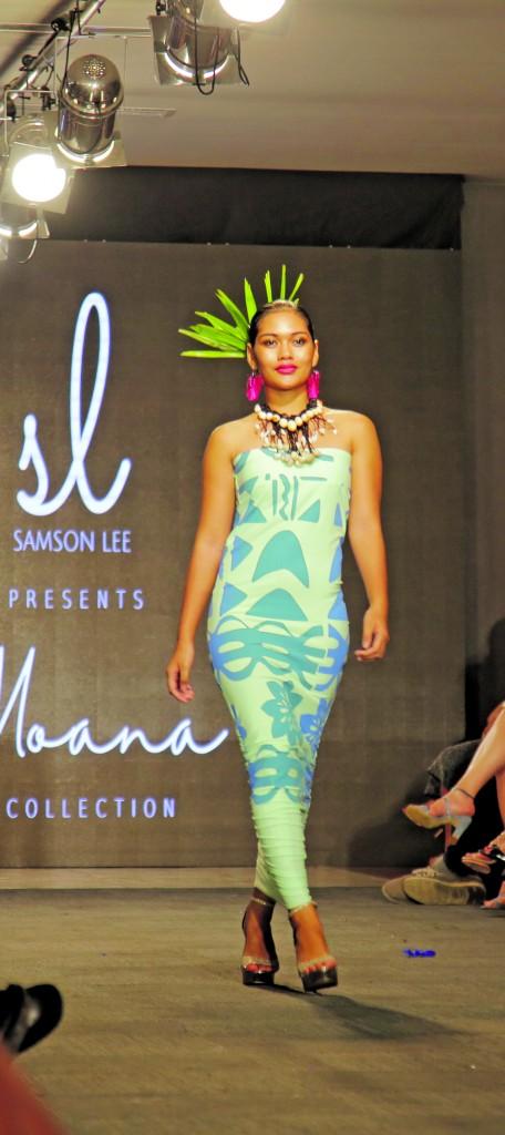 A model wearing a 'Moana' design by Samson Lee on the final day of the Bottega Gold Fijian Fashion Festival. Photo: Simione Haranavanua