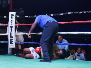 Light heavyweight boxing star Opeti Tagi is on the canvas against Savenaca Naliva at Prince Charles Park, Nadi on June 23, 2018. Nailva won on the 3rd round TKO. Photo: Waisea Nasokia