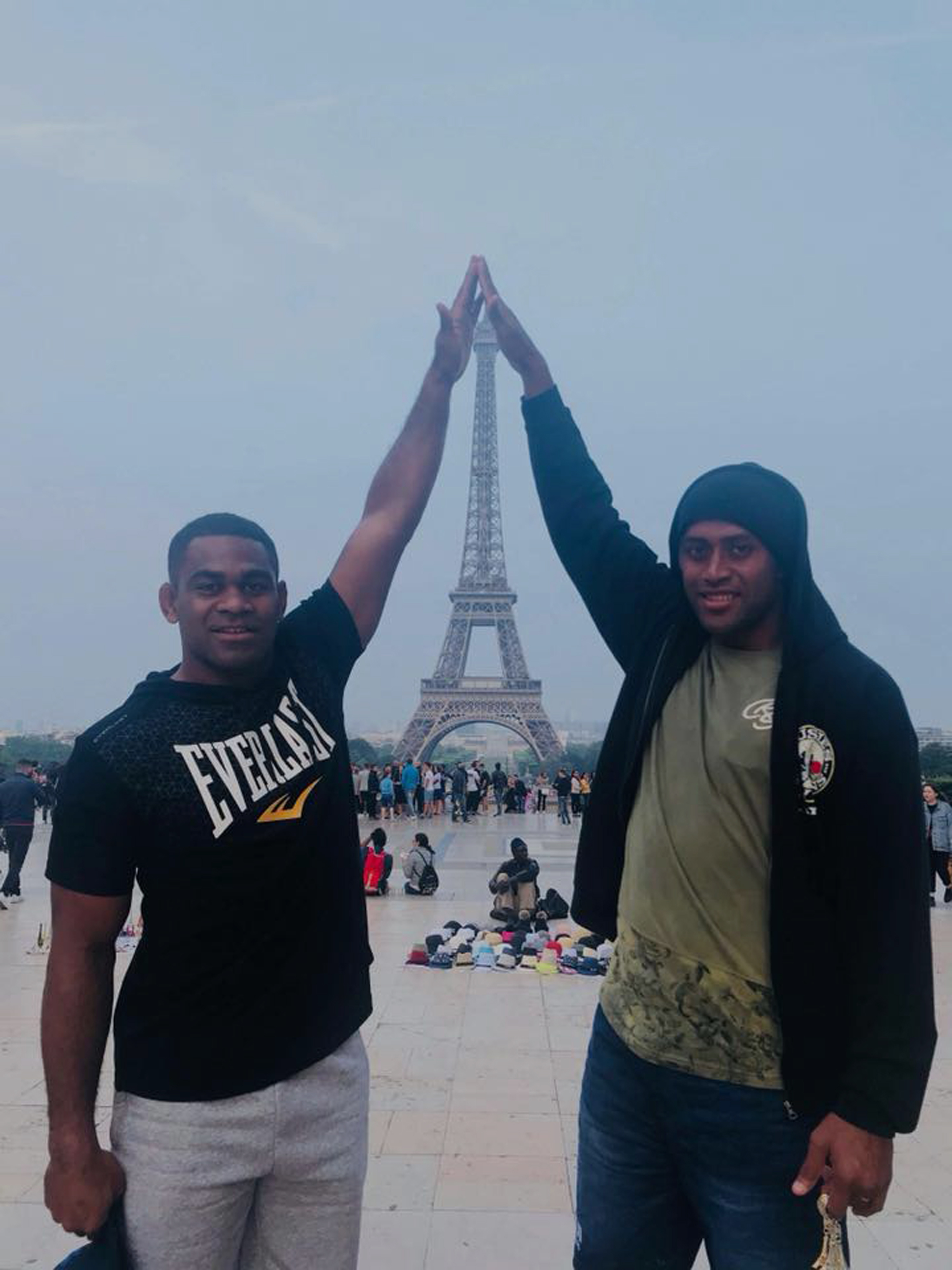 Fiji Airways Fijian 7s playmaker Vatemo Ravouvou (left) and Samisoni Viriviri in Paris, France on June 5, 2018.  Photo: Waisea Nacuqu