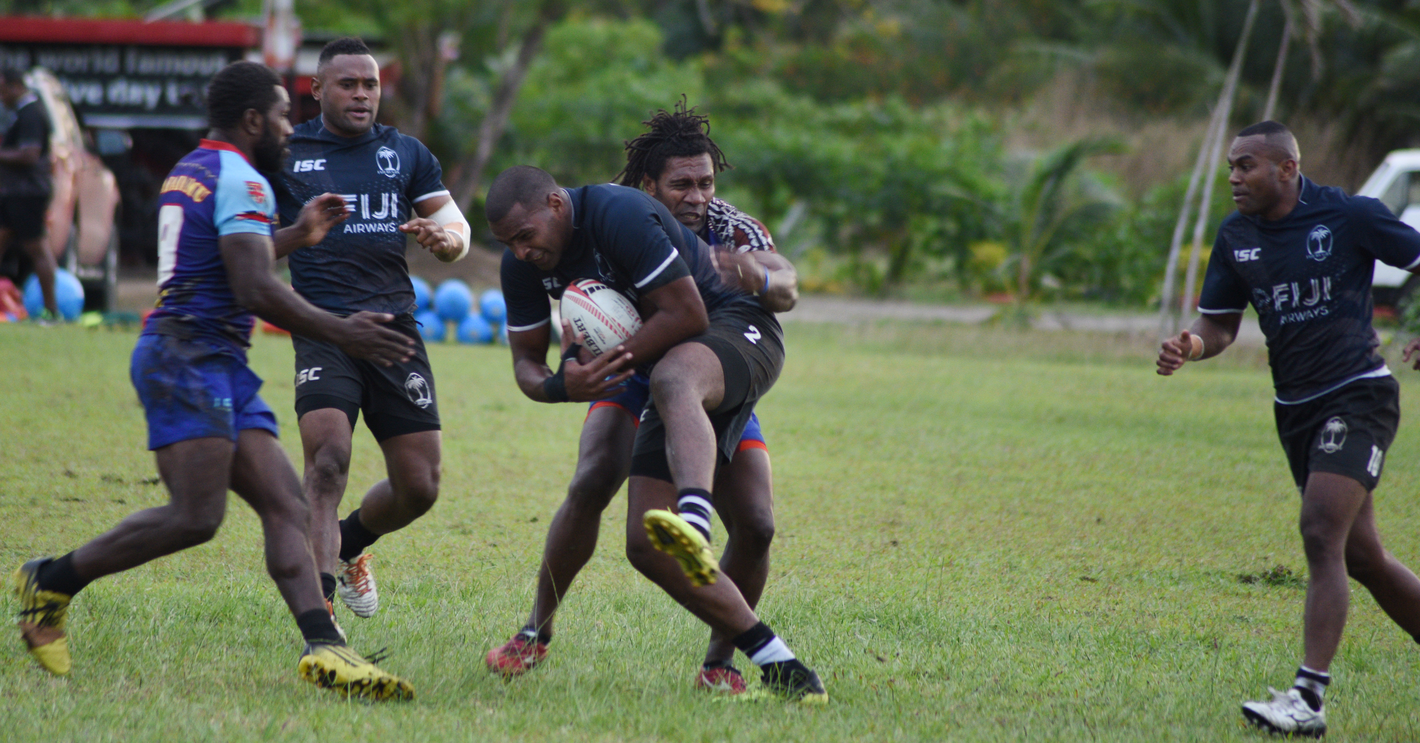 Fiji Airways Fijian 7s side while training with the Tabacamu side at Uprising Ground in Pacific Harbour on June 27, 2018. Photo: Ronald Kumar.