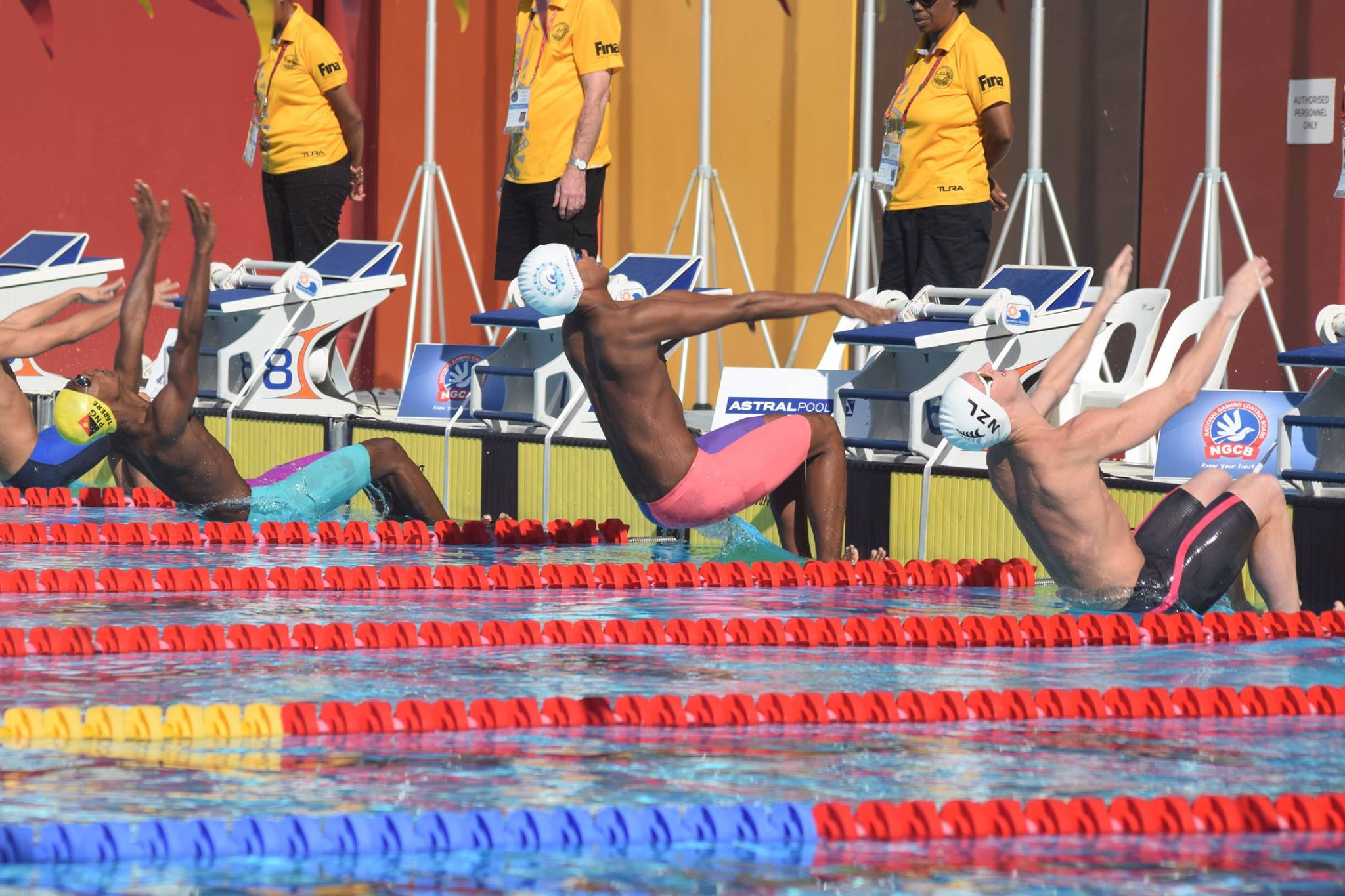 National men's swimmer Oakley Johns (second from right) at the start of his race during the Oceania Swimming Championships in Port Moresby, Papua New Guinea on June 27, 2018.  Photo:  Fiji Swimming