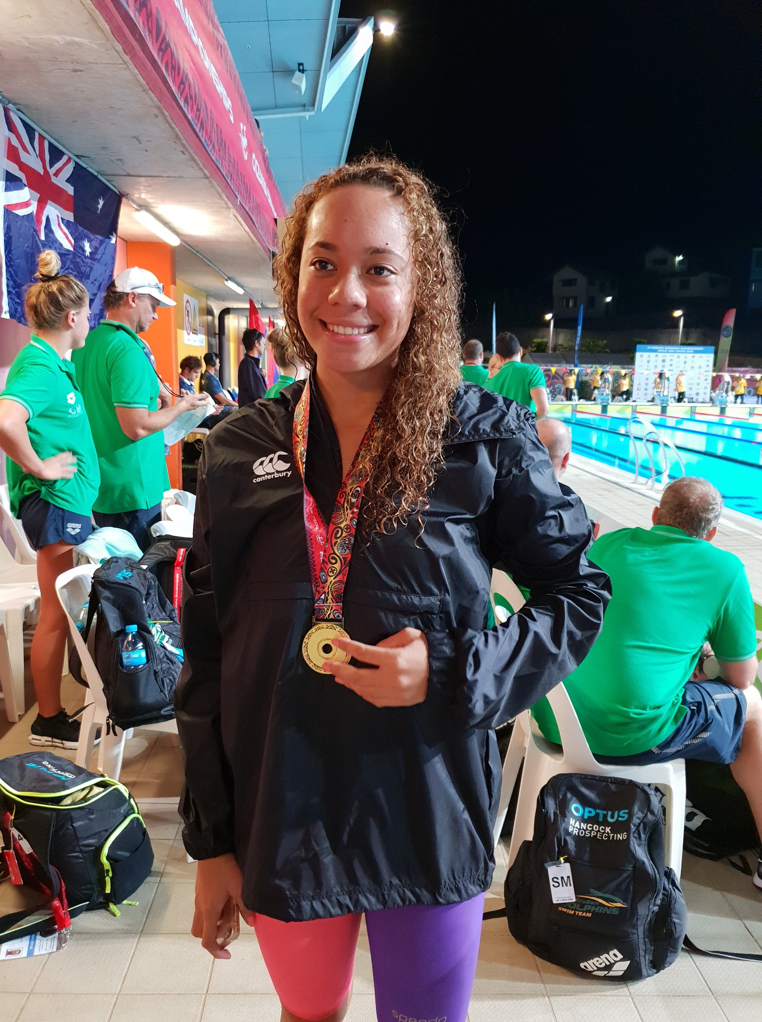 National women's swimmer Yolani Blake shows her medal during the 12th Oceania Swimming Championships in Port Moresby, Papua New Guinea on June 27, 2018. Photo:  Fiji Swimming