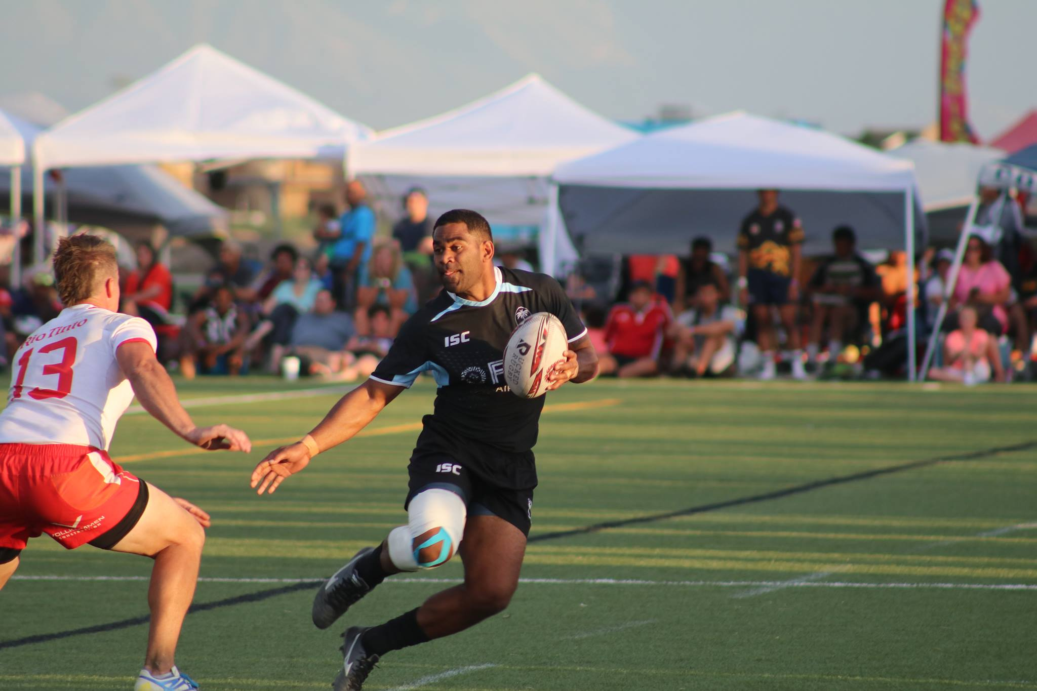 Fiji Airways Fijian 7s rep Vatemo Ravouvou in action during their scrimmaging sessions at the Pioneer Rugby 7s tournament at Salt Lake City.  Photo: Pioneer Rugby Foundation.
