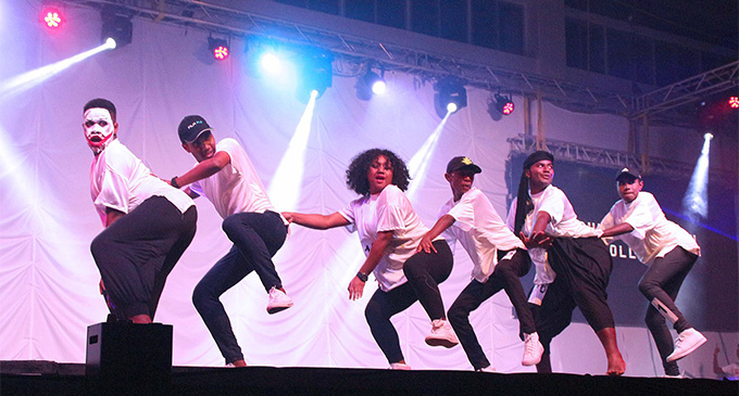 Students of Rishikul Sanatan College on stage during the Fiji Link Dance competition at the FMF Gymnasium in Suva on July 28, 2018. Photo: DEPTFO News